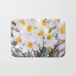 White Daffodil Meadow Bath Mat