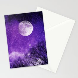 Nightsky with Full Moon in Ultra Violet Stationery Cards
