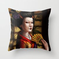 japanese Throw Pillows featuring Japanese by Ayu Marques