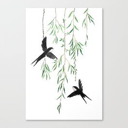 green willow leaf and swallow watercolor Canvas Print