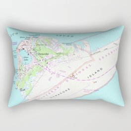 Vintage Map of Ocracoke North Carolina (1948) Rectangular Pillow