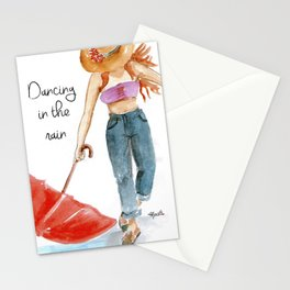 Dancing in the rain Stationery Cards