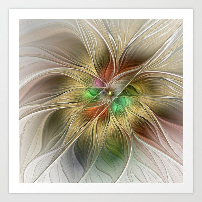 Golden Flourish, Abstract Fractal Art Art Print