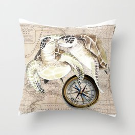 Sea Turtles Compass Map Throw Pillow