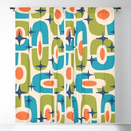 Mid Century Modern Cosmic Abstract 124 Olive Cyan Orange and Blue Blackout Curtain