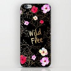 471 7 Wild & Free Black Floral iPhone & iPod Skin