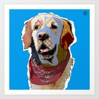 golden retriever Art Prints featuring Golden Retriever  by TiannaHarman
