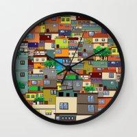 rio de janeiro Wall Clocks featuring Favela, Rio de Janeiro by Rceeh