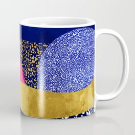 Terrazzo galaxy blue night yellow gold pink Coffee Mug