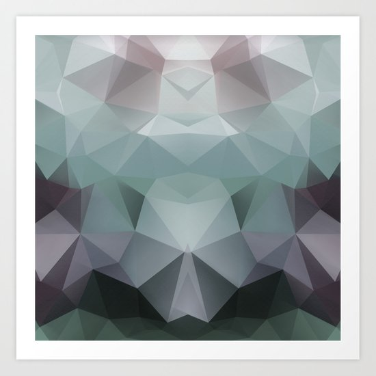 Abstract geometric polygonal pattern in grey and green tones . Art Print
