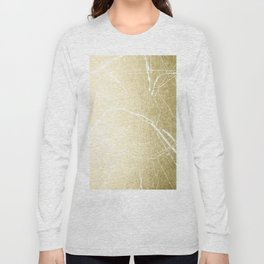 Paris France Minimal Street Map - Gold Foil Glitter Long Sleeve T-shirt