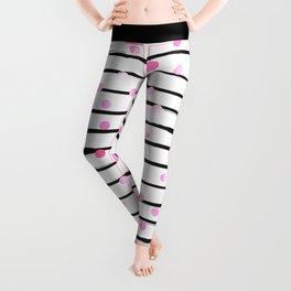 Blush pink black watercolor modern stripes polka dots Leggings