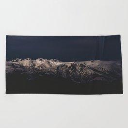 Dreamy sunset on the mountain top Beach Towel
