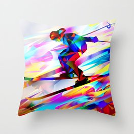Skiing man. Winter sports Throw Pillow