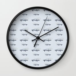 happy whale pattern Wall Clock