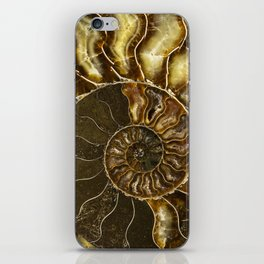 Earth treasures - Brown and yellow ammonite iPhone Skin