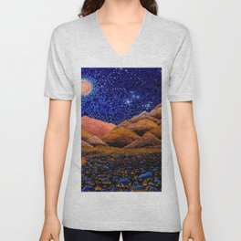 'Further Glories,' Full Moon, San Jacinto Mountains, Palm Springs landscape by Clark T. Carlton Unisex V-Neck