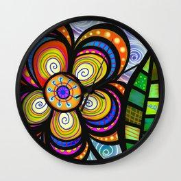 feuilles et fleurs motif 5 Wall Clock