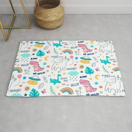 Cute Be Wild & Magical Doodle Illustration Unicorns Rainbows and Dinosaurs Pattern Rug