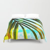 palm tree Duvet Covers featuring Palm by Stephanie Stonato