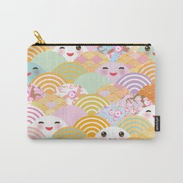 seamless pattern Kawaii with pink cheeks and winking eyes with japanese sakura flower Carry-All Pouch
