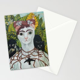 Frida the cat: Self-Portrait with Thorn Necklace and Hummingbird Stationery Cards