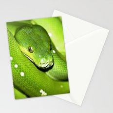 Green Python Portrait 3 Stationery Cards