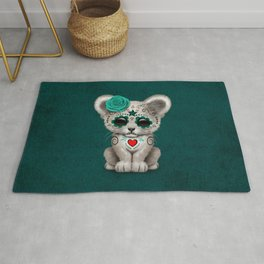 Teal Blue Day of the Dead Sugar Skull White Lion Cub Rug