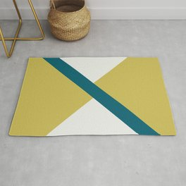 Off White, Dark Yellow and Tropical Dark Teal Inspired by Sherwin Williams 2020 Trending Color Oceanside SW6496 Minimal Solid Color Offset Geometric Shape Design 2 Rug