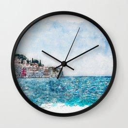 Aquarelle sketch art. View to the city Rovinj, Croatia. Sunny day, blue sea and sky Wall Clock