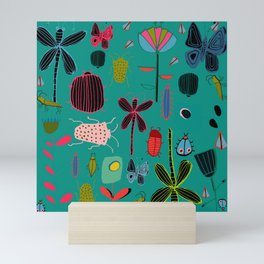 bugs and insects green Mini Art Print