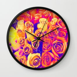 bouquet of roses texture pattern abstract in pink and white Wall Clock
