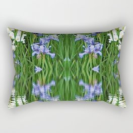 PURPLE IRIS WATER GARDEN  REFLECTION Rectangular Pillow