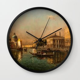 Venice Doge Palace and St. Marks landscape painting by Antoine Bouvard Wall Clock
