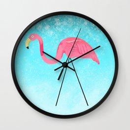 My Yard Flamingo Goes on Vacation Wall Clock