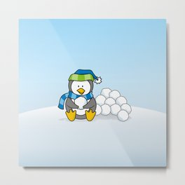 Little penguin sitting with snowballs Metal Print