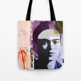 Frida Kahlo Abstract Pop Art Portrait by Michel Keck Tote Bag