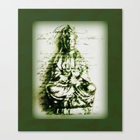 budi satria kwan Canvas Prints featuring Antique Green Kwan Yin by Jan4insight