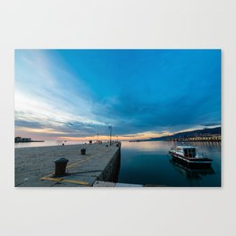 Colorful sunset in front of the city of Trieste Canvas Print