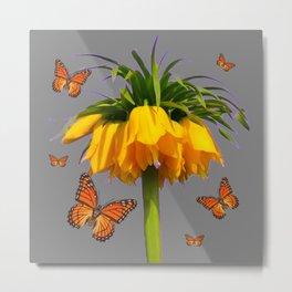 ORANGE MONARCH BUTTERFLIES CROWN IMPERIAL FLOWER Metal Print