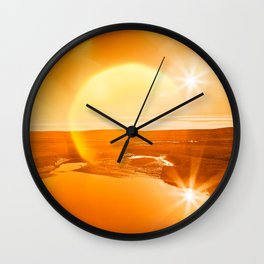 Twin Suns of Point Reyes - Gold Bokeh Bliss Wall Clock