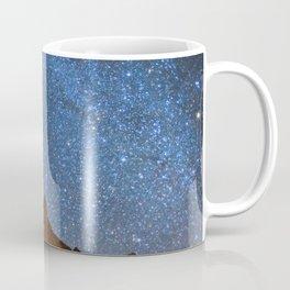 Starry Night: Brilliant Blue Stars Behind Rocky Mountain Coffee Mug
