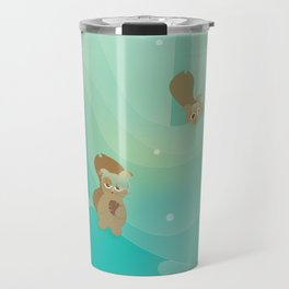 Hide and Seed (Cartoon Squirrels, Mint Green Snow Forest) Travel Mug