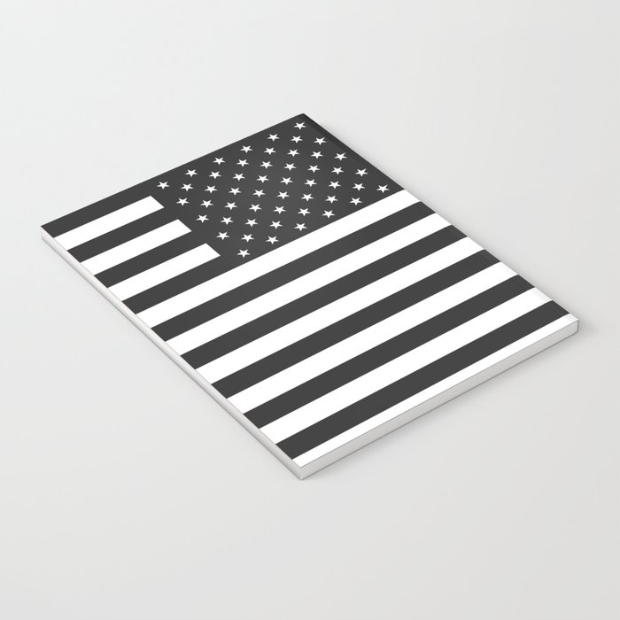 American Flag Stars and Stripes Black White Notebook