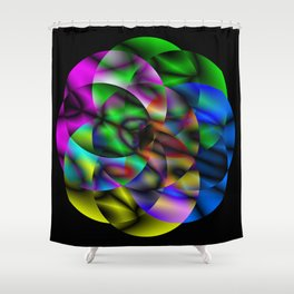 Concentric Vibrancy - Abstract, neon, geometry artwork Shower Curtain