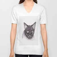 kitty V-neck T-shirts featuring Kitty by Adrian Casanova