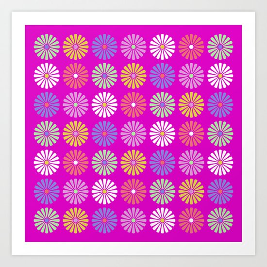 Pastel Flowers Pattern (On Purple/Pink) Art Print