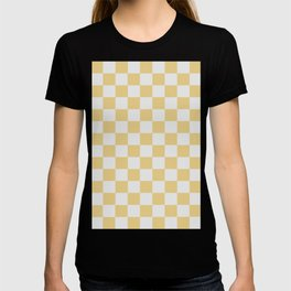 Checkered Pattern Light Gray and Beige T-shirt