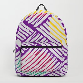 Purple Pattern with White Lines and Colors Circles Backpack