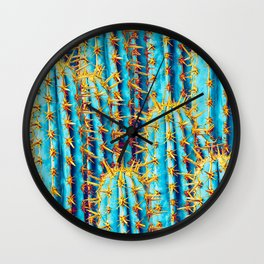 Neon Gold Cactus Wall Clock